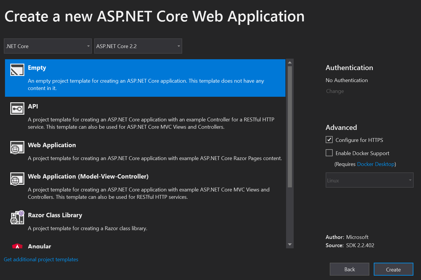 Visual Studio Web Application Screenshot