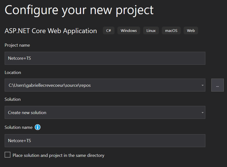 Visual Studio New Project Window Screenshot