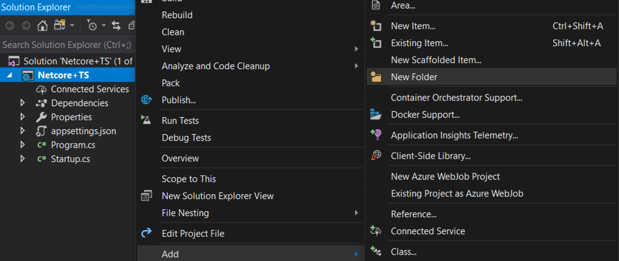 "The Path of ""Add"" then ""New Folder"" in Visual Studio from a Web Project"