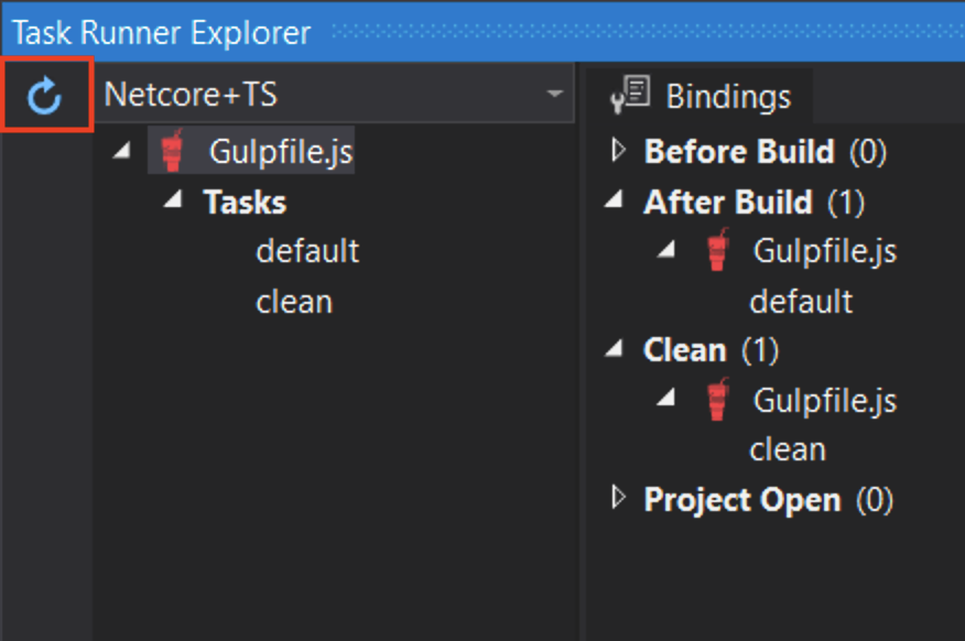 "Screenshot of task explorer with ""Gulpfile.js"" in it"